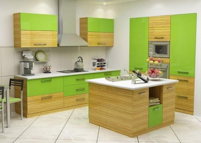угловые кухни цвета салатно - жёлтые фото